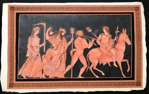 "No title. Bacchantal entourage with Dionysos holding a torch riding through the night on his donkey followed by a grown and a juvenile Satyrs and servants carrying wine jugs and a torch.  Hand-colored, terra cotta and black, copper etching.  Published i: ""Collection of Etruscan, Greek and Roman Antiquities From the Cabinet of the Honourable William Hamilton"" (1730-1803)  Author: Francois Hugues d'Hancarville (1719-1805)  Printer: Francois Morel. Napoli, Naples, Neapel 1766/67"