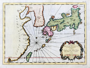 """Carta dell'Isole del Giappone e la Penisola di Corea con le Coste della China da Pekin sino a Canton"". Copper etching by Bellin from the Italian edition of his atlas. Ca. 1750. Modern hand coloring.  The geographical area of this map is very clear with Japan, Korea and the coast of China from Peking in the north to Canton in the south. Formosa (Taiwan) is shown in green off the coast of China in the south. The red horizontal line near the bottom is the Tropic of Cancer."