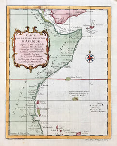 """Carte De La Coste Orientale D'Afrique........."" Copper etching by Bellin, dated 1740. Modern hand coloring.  Map shows part of the northeastern coast of Africa from the Island of Dahlak in the Red Sea and extending south to the area of the Comoro islands."