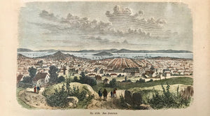 San Francisco.  Wood engraving ca 1880. Contemporary hand coloring. Reverse side is printed.  10.7 x 17.5 cm (4.2 x 6.9'')