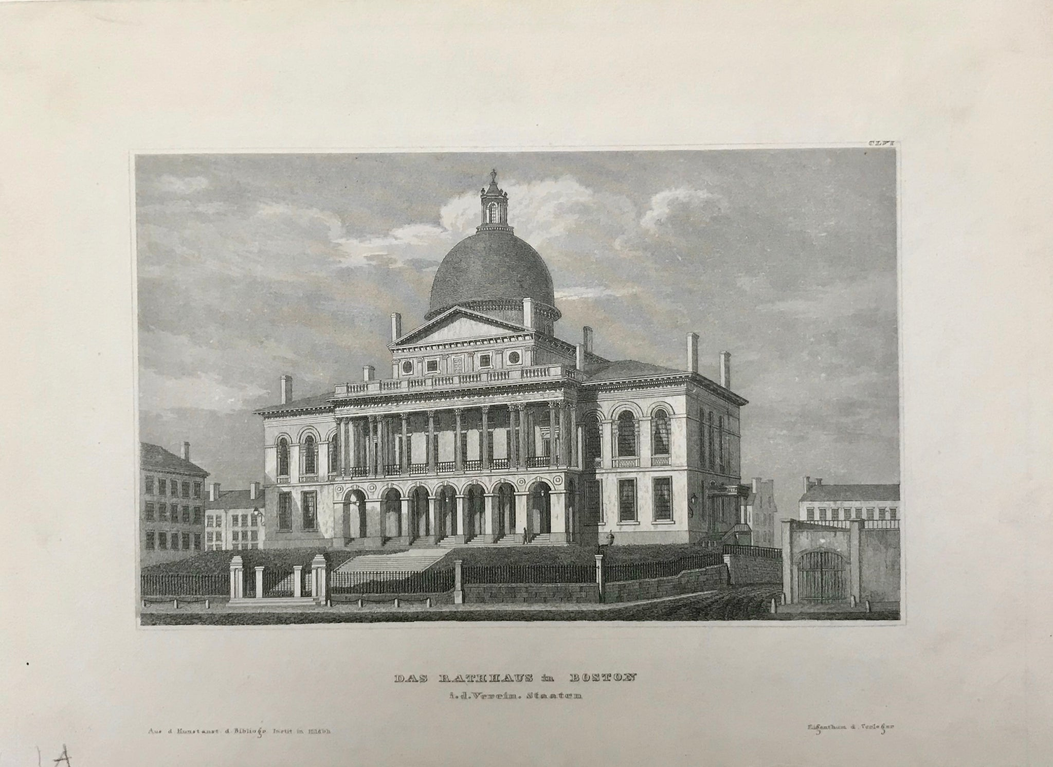 "Boston City Hall. ""Das Rathaus in Boston""  Steel engraving from Kunstanstalt in Hildburghausen. Ca 1850."