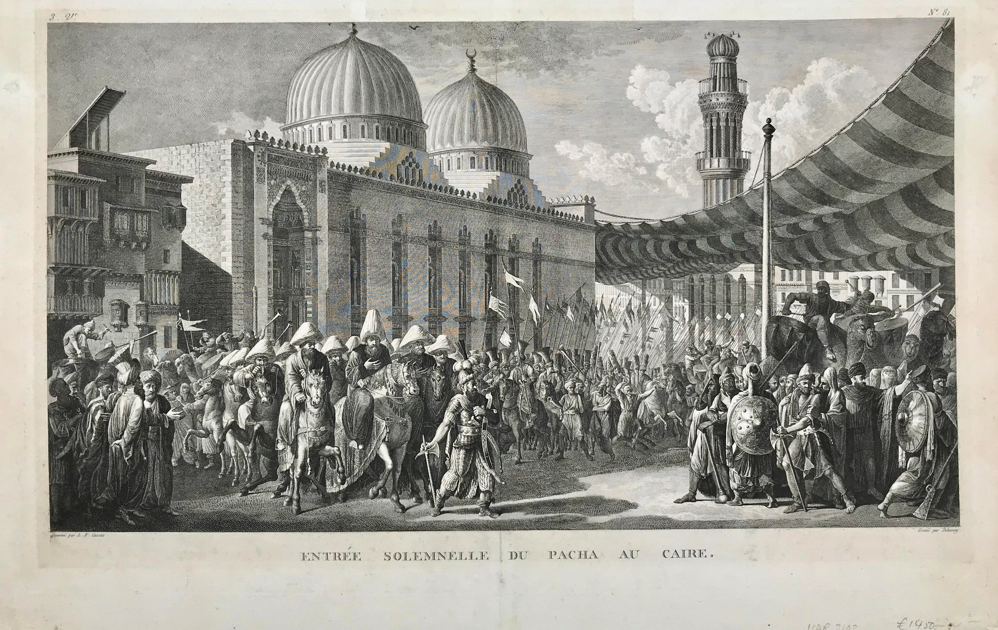 "Antique Print: ""Entrée Solennelle du Pacha au Caire"". Copper etching by Delaunay after Louis François Cassas from ""Voyage pitt. de la Syrie, de la Phénicie etc."" published in 1799. (Cassas had planned a description of the voyage to Syria, Palestine and Eygpt, but it was never finished and only 30 of these were published)"