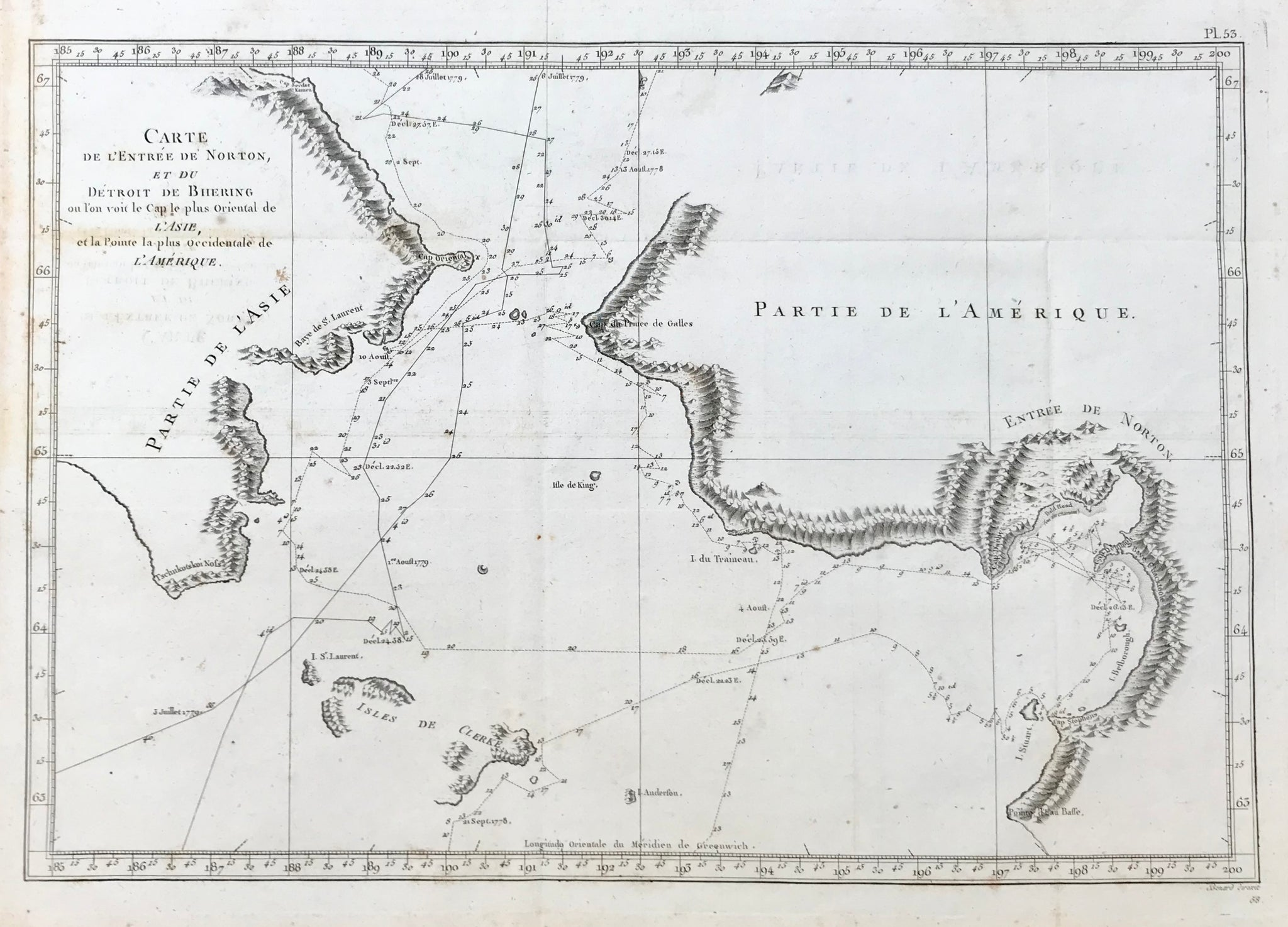 """Carte de L Entree de Norton, et du Detroit de Bhering on l on von le Cap le plus Oriental de L Asie et le Pointe la plus Occidentale de L Amerique"". Copper engraving by Benard for Rigobert Bonne 1788.  Map shows the Bering Strait from the coast south to Norton Sound to the Coast north of Cap du Prince du Galles. The lines show the voyages of Captain Cook in 1778 and 1779.  Map has original folds to fit book size. A few minor spots.  26.5 x 38.5 cm ( 10.4 x 15.1 "")"