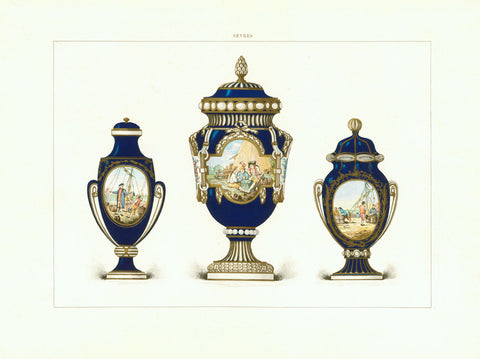 """Sevres"" Very fine chromolithograph by Gillot after the artist Edouard Garnier, 1892. The porcelain shown is from ca 1780."