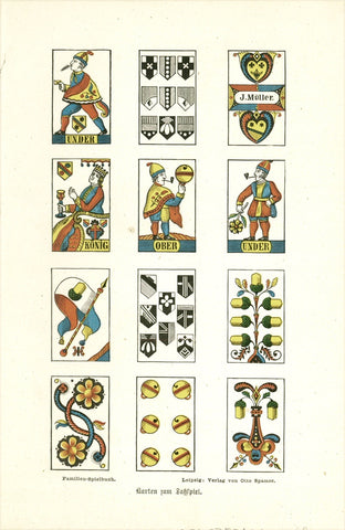 """Karten zum Fass-Spiel"" (Barrel game cards)  Wood engraving printed in color.  Published in Leipzig, 1882"