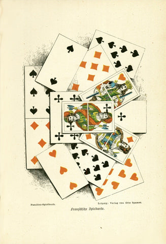"""Französische Spielkarte"" (French game cards)  Wood engraving printed in color.  Published in Leipzig, 1882"