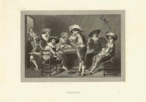 """Tricktrack""  Anonymous copper engraving ca 1780., games, trick track, backgammon"
