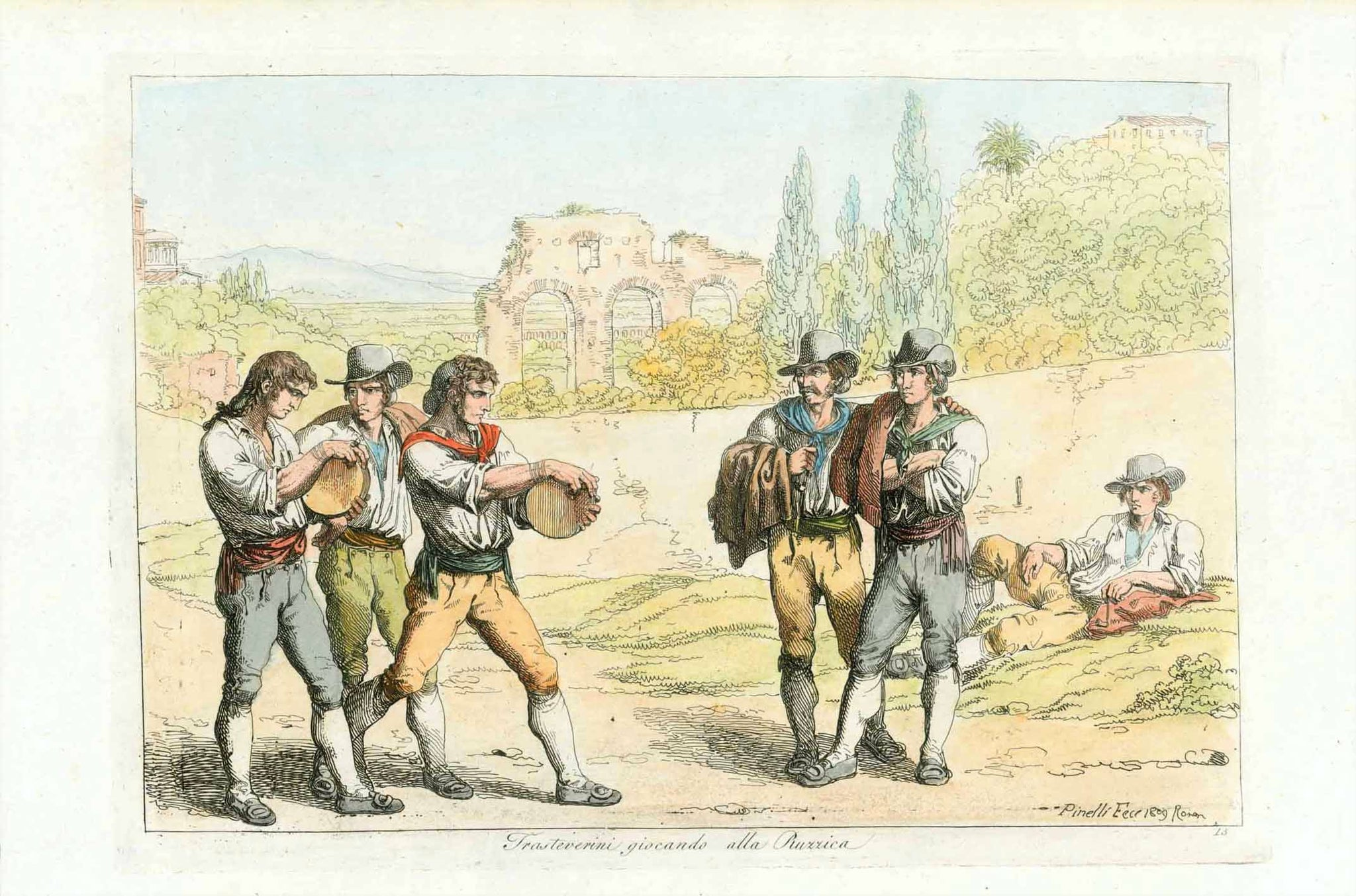 """Trasteverini giocando all Ruzzica""  Hand colored copper etching by Bartolomeo Pinelli (1781-1835).  Published in ""Raccolta di motivi pittoreschi"". Rome, 1809  The name of this game is actually ""Ruzzola"" or ""Ruzzolone"".  Discs made of wood are rolled similar to road bowling."