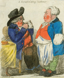 """A Scrutinizing Customer"" - Genaue Rechnungsprüfung eines Gastes Hand-colored copper etching  by George Cruikshanks (1792-1878) After the drawing by George Moutard Woodward (ca. 1760-1809) Handkolorierte Kupferradierung von George Cruikshanks nach der Zeichnung von George Moutard Woodward Publishe in / Erschienen in ""The Caricature Magazine or Hudibrastic Mirror"""