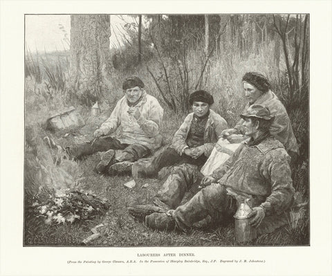 """Labourers After Dinner""  Wood engraving after a painting by George Clausen. Engraved by J.M. Johnstone. Published 1895."