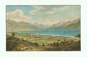 Antique Print of Lake Geneva. Genfer See. Lac de Geneve Nestle No title printed. Vevey, General View. View from the north, more precisely from Saint-Legier-LaChiesaz, or from the slopes of Bondenoces, over the city of Vevey and across Lake Geneva (Lac Leman - Genfer See) and the snow-covered Alpine mountain range belonging to France