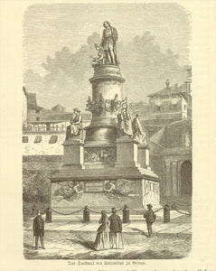 """Das Denkmal des Columbus zu Genua""""  Wood engraving published 1881. On the reverse side is text ( in German) about Columbus."