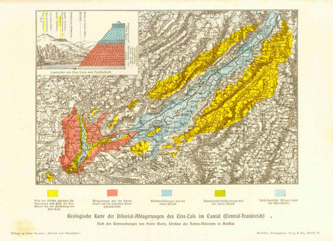 """Geologische Karte der Diluvial Ablagerungen des Cère Tals in Cantal (Central Frankreich)""  Interesting geological map of the dilluvial deposits in the Cère Valley of central France.  In the upper left is a profile of the Cère Valley."