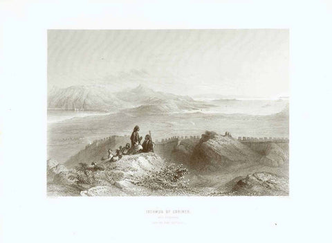 """Isthmus of Corinth"" ""With Cenchrea"" ""From the Arco Corinthus""  Steel engraving by J.C. Bentley after W. H. Bartlett, published 1854."