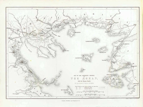 """Map of the Northern Shores of the Aegean with the Roman Roads""  Steel engraving map by w. Hughes. Published 1854."