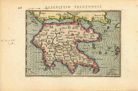 """Descriptio Peloponnsi""  Copper engraving map by Peter Bertius (1565-1629). Published in Amsterdam by Jodocus Hondius ca 1603  From ""Tabularum Geographicarum contractarum"".  Hand coloring."