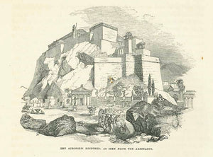 """The Acropoli Restored, as Seen From the Areopagus""  Wood engraving on a text page published 1854. Below the image is text about Athens that continues on the reverse side."