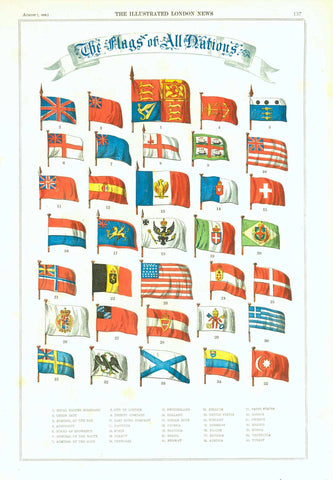 """The Flags of All Nations""  Lithograph. Printed in color.  Published in London, 1858"