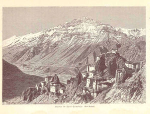 """Dankar in Spiti Himalaja""  Wood engraving of the village of Dhankar, published 1901. Reverse side is printed."