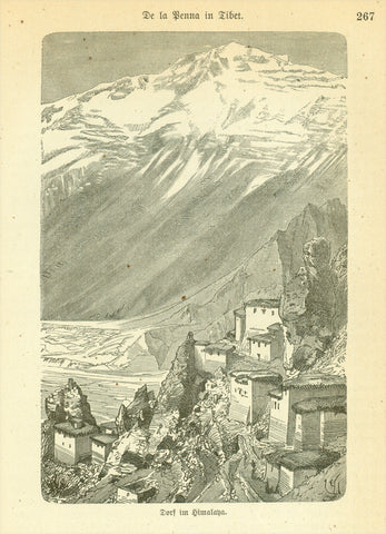"""Dorf im Himalaya"" (Village in Himalaya)  Wood engraving published 1885. On the reverse side is text (in German) about early exploration in Tibet."