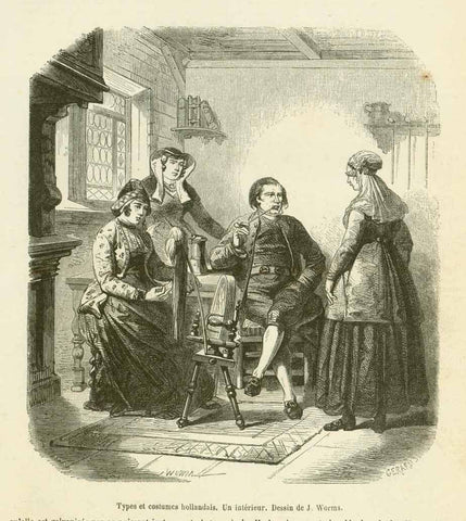 """Types et costumes hollandais. Un interieur""  Wood engraving dated 1859. Below the image and on the reverse side is text about Dutch customs and history."