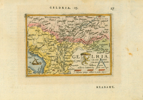 """Geldria""  Hand-colored copper etching from the pocket atlas  by Abraham Ortelius  Antwerp, 1587  Original antique print   This little jewel map, east-oriented and showing areas beyond its title, is one of Abraham Ortelius' miniature maps, an attempt by the author to spread the knowledge of the world, so fabulously displayed in his large (and expensive) atlas ""Theatrum Orbis Terrarum"", which was the first world atlas ever produced, as I just said, to spread this knowledge further into larger groups of buyer"