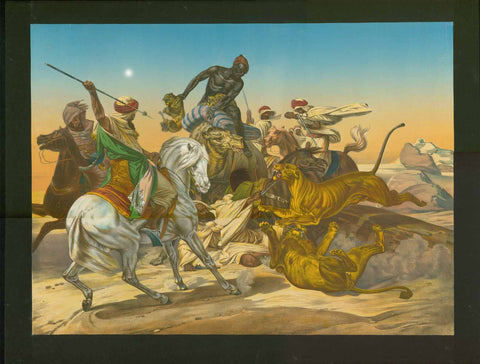 Hunting lions in the Sahara  Löwenjagd in der Sahara  Chromo-Lithograph after the painting by Emile Jean Horace Vernet (1789-1863)  Ca. 1870  Lion Hunt with Arabian horses and a camel.   Lithograph in brilliant printed color.  Mounted on black backing.  Original antique print