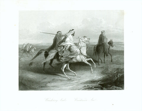 """Wandering Arabs Wandernde Araber""  Fine steel engraving by A.H. Payne after A. Frisch ca 1850. Arabian horses."