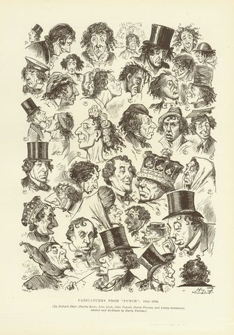 """Caricatures from ""Punch"" 1844-1882""  Wood engraving published 1895"