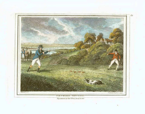 """Partidge Netting""  Hand-colored stipple copper engraving by Samuel Howitt (1756-1822)  An odd, old fashioned way of letting a dog chase partridges into a men-held net  Published in London, dated 1799"