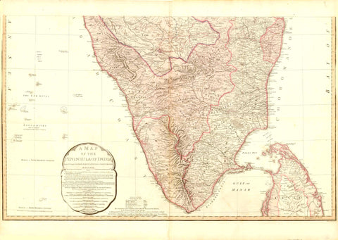 "Antique Map of Southern India: ""A Map of the Peninsula of India from the 19th degree North latitude to Cape Comorin"" This very large detailed map of southern India was engraved by B. Baker after Sir. Arch. Campbell. It was printed by W. Faden in London. Dated May 10, 1800 Hand coloring. Map has light browning. Small repair in lower margin on the centerfold. Minor signs of age and use. 49 x 81 cm ( 19 x 31.8 "")"