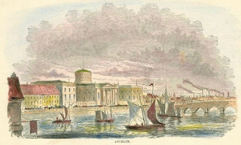 """Dublin""  Wood engraving ca 1870. Hand coloring. Reverse side is printed."