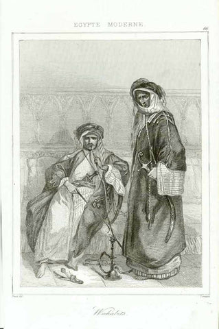 """Wahabits""  Steel engraving by Lemaitre ca 1850 of Wahabits in Egypt. The left Wahabit is smoking a waterpipe.  Original antique print"