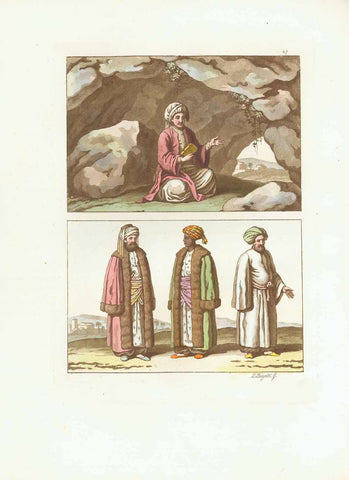 "Islamic Culture, ""Imano"" (page 27) (Tittle in book)  Aquatint by G. Bigatti after Giulio Ferrario in Milan. Published 1820. From ""Il Costume antico e moderno o storia del governo.....di tutti i populi..."" Printed in brown ink and the rest is original hand coloring.  Original antique print , interior design, wall decoration, ideas, idea, gift ideas, present, vintage, charming, special, decoration, home interior, living room design"