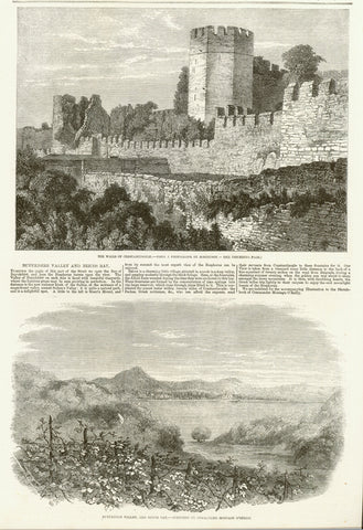 "Upper image: ""Walls of Constantinople"" Lower image: ""Buyukdere Valley""  Wood engravings on a page of text that continues on the reverse side. Dated 1856."