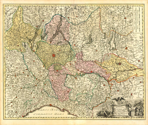 """Ducatus Mediolani una cum Confinys accurata Tabula exibitus auctus et e medatus."" Copper etching by Johann Bapt. Homann, 1723. Original hand coloring.  Milan is in the upper center of this northern Italian map. In the upper left is Salurn and St. Michael on the Adige River. In the upper left is Brig and Arnen in Switzerland. In the lower left is Mondovi. Modena and Torricella are in the lower right. In the lower right is a decorative cartouche with cherubs and two young men.  Original antique print"