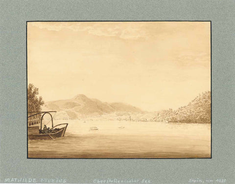 Lago Maggiore  Ink drawing in sepia color.  On reverse side with pencil: Mathilde Mutins. Ca. 1820  Mathilde von Mutius was married to  Freiherr Johann August Friedrich Hiller von Gärtringen  Unfortunately we are unable to clearly state the point of view. Locally acquainted people will be able to help.  Original Drawing!