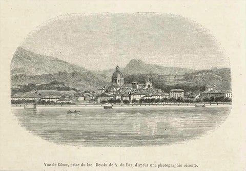 """Vue de Come, pris du lac.""  Wood engraving by A. de Bar after a photograph. Published in a French publication 1860. The image is on a page of text that  continues on the reverse side about Como."