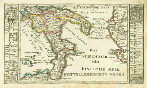 """Das Koenigreichs Napoli sud-theil"". Copper etching by Gabriel Bodenehr ca 1720. Outline hand coloring.  Map shows the southern part kingdom of Naples.. In the upper left and right corners are ornate coats-of-arms. On the right side is a bit of Greece."