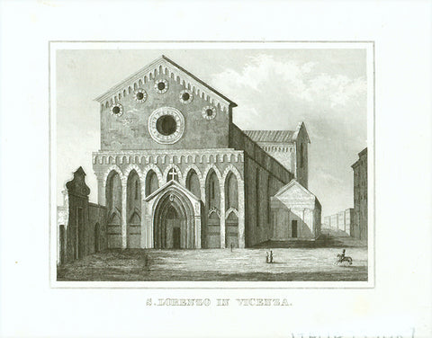 """S. Lorenzo in Vicenza""  Anonymous steel engraving ca 1850."