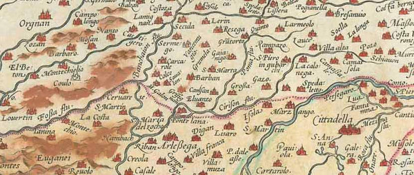 """Patavini Territorii Corographia, Iac. Castaldo Auct.""  Hand-colored copper etching by Giacomo Gastaldi (ca. 1500-ca. 1568) Original antique print   Published in ""Theatrum Orbis Terrarum"", the first world atlas ever printed. By Abraham Ortelius (1527-1598). Antwerp, 1573 (second edition)  West- oriented map of the Province of Padua in Italy. reaching from Vicenza to Venice and the Adriatic Coast between the rivers Zero (fiume Zero) and Adige (Etsch), or if you will between the Island of Mazzorbo and Choggia"