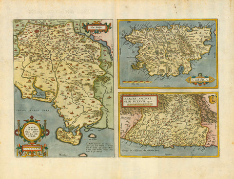 "Siena, Ancona, Corsica ""Senensis Ditionis, Accurata Descrip.""  ""Corsica""  ""Marcha Anconae, Olim Picenum 1572""  One half page and two small maps on a double page  Hand-colored copper etchings. Published in ""Theatrum Orbis Terrarum""  By Abraham Ortelius (1527-1598)  German edition (Verso text in German), Original antique print , interior design, wall decoration, ideas, idea, gift ideas, present, vintage, charming, special, decoration, home interior, living room design"