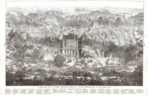 """A Bird's Eye View of Ancient Jerusalem, Embracing a Minute Representation of this Sacred City"".  Wood etching ca 1880.  This historical print shows Jerusalem with its many religious and historical monuments. At the bottom of the page is a legend explaining the variousspecial monuments of this historical city."