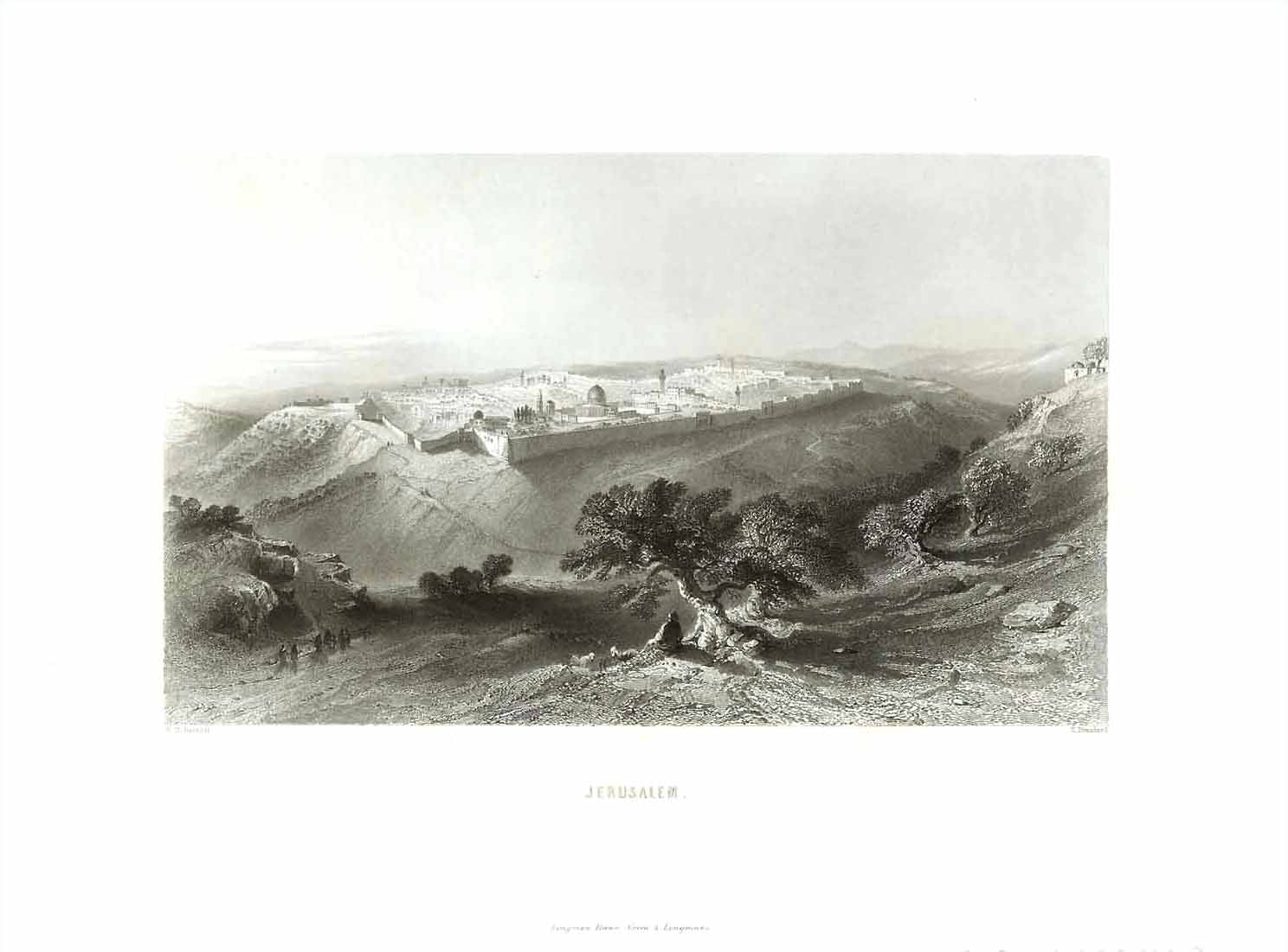 """Jerusalem""  Steel engraving by E. Brandard after W. H. Bartlett. Published 1854."