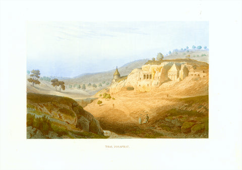 """Thal Josaphat""  Original antique print   Toned steel engraving published 1861. Hand-color highlighting. Monastery, Jerusalem"