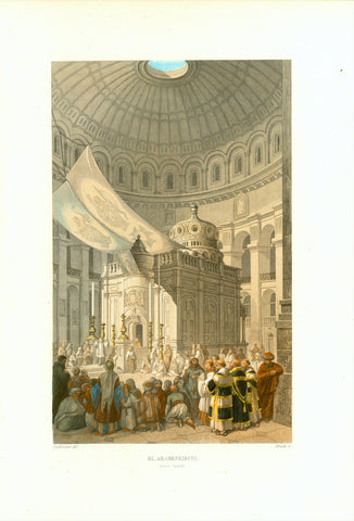 """Hl. Grabeskirche"" (Church of the Holy Sepulchre) ""Innere Ansicht""  Original antique print   Toned steel engraving with hand-colored highlights by Bruck after Halbreiter. Published 1861."