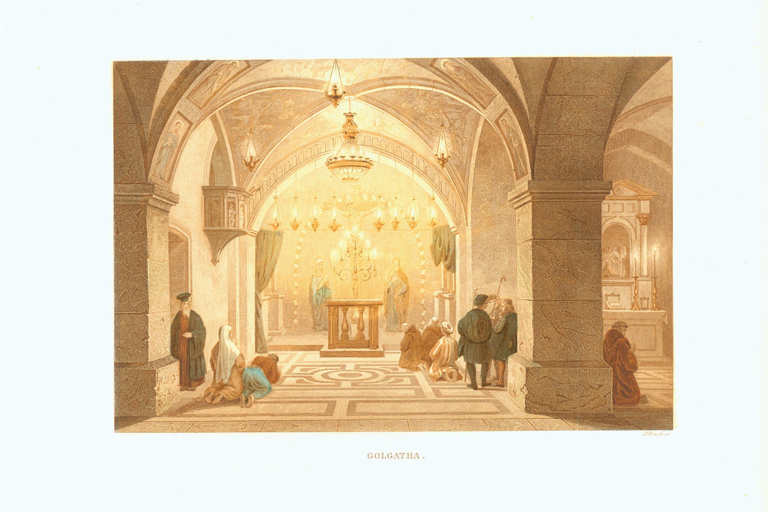 """Golgatha"" - Holy Sepulcher  Original antique print   Toned steel engraving with hand-colored highlights by H. Bruck. Published 1861."
