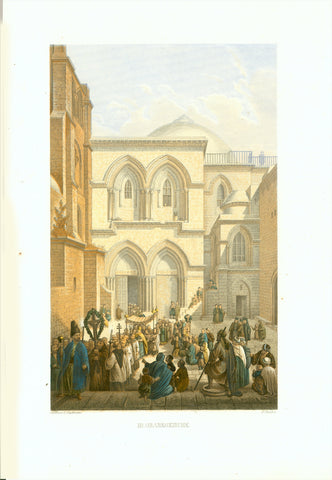 """Hl. Grabeskirche"" (Church of the Holy Sepulchre)  Original antique print   Toned steel engraving with hand-colored highlights by Bruck after Halbreiter. Published 1861."