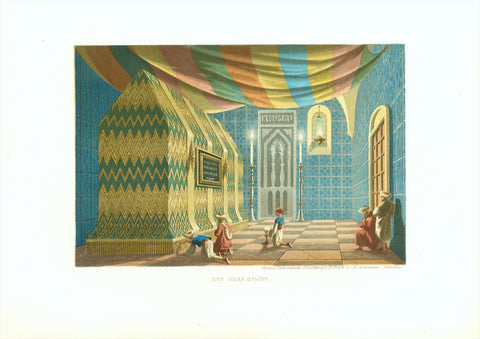 """Das Grab Davids"" (Tomb of King David)  Original antique print   Lithograph printed in color after H. Bruck and A. Meermann in Munich 1861"
