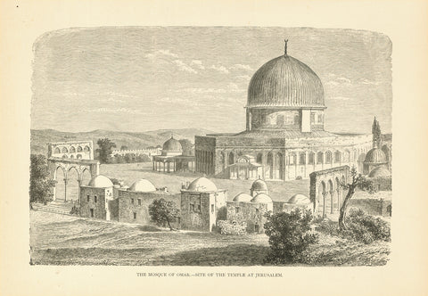"""The Mosque of Omar. - Site of the Temple at Jerusalem""  Wood engraving. Ca. 1880  Original antique print , Moschee"